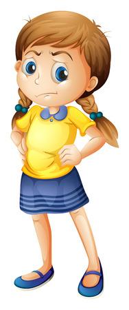 Ilustración de una niña enojada en un fondo blanco