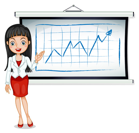 explain: Illustration of a formal lady in front of the bulletin board on a white background Illustration