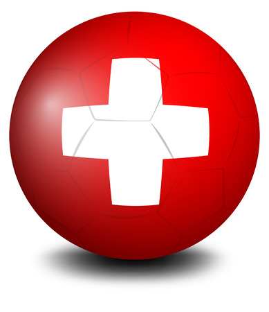 switzerland flag: Illustration of a soccer ball with the Switzerland flag on a white background Illustration