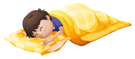laying little: Illustration of a young man sleeping soundly on a white background