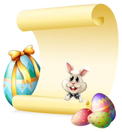 Illustration of an empty paper template with a bunny and Easter eggs on a white background Vector