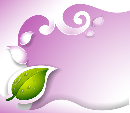 beautification: Illustration of a border design with a green leaf