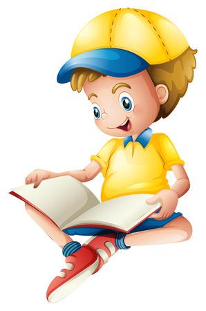 leggere libro: Illustrazione di un bambino che legge su uno sfondo bianco