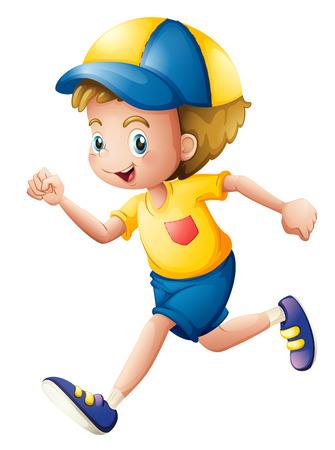 pantalones cortos: Ilustración de un niño pequeño que se ejecuta en un fondo blanco