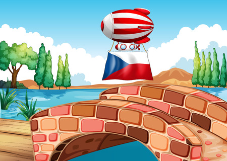 czech flag: Illustration of a floating balloon with the Czech Republic flag
