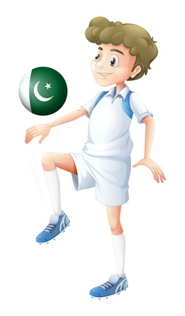 pakistan flag: Illustration of a player using the ball with the Pakistan flag on a white background