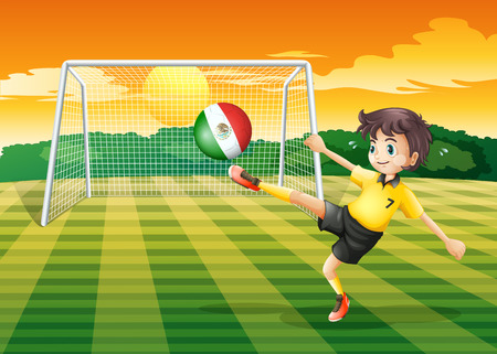 Illustration of a girl kicking the ball with the Mexico flag Vector