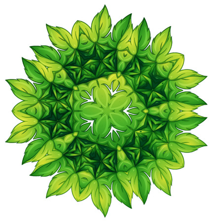 beautification: Illustration of a green leafy border design on a white background Illustration