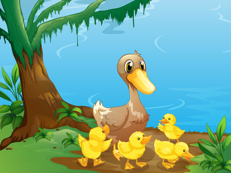 riverbank: Illustration of a duck and her ducklings at the riverbank