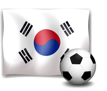 Illustration of a soccer ball in front of the Korean flag on a white background Vector