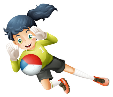 Illustration of a female player using the ball with the flag of Czechoslovakia on a white background