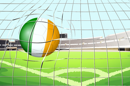footwork: Illustration of a ball with the Ireland Flag hitting a goal
