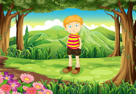 Illustration of a tall boy at the jungle Vector