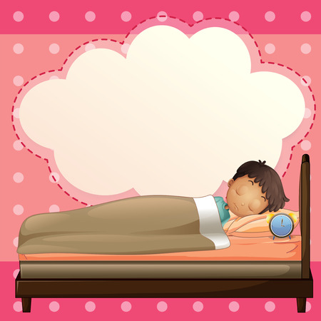 Illustration of a boy sleeping with an empty callout template Vector