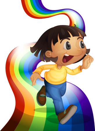 running pants: Illustration of a rainbow with a child playing on a white background