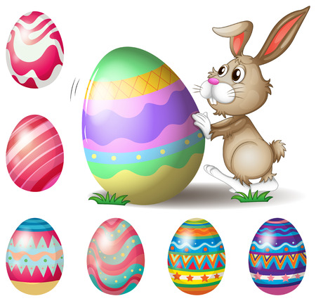 Illustration of a bunny pushing a big Easter egg on a white background Vector