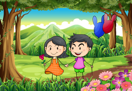 couple dating: Illustration of a couple dating at the jungle Illustration