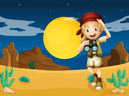 Illustration of a girl at the desert with a telescope Vector