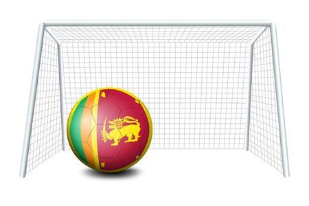 srilanka: Illustration of a ball near the net  with the Sri Lanka flag on a white background
