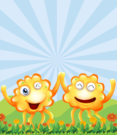 Illustration of the happy monsters near the hills