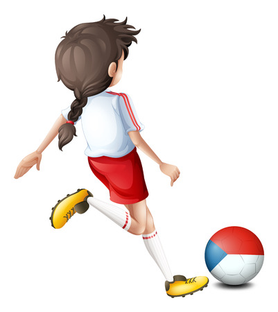 Illustration of a female athlete using the ball with the Czech Republic flag on a white background Vector