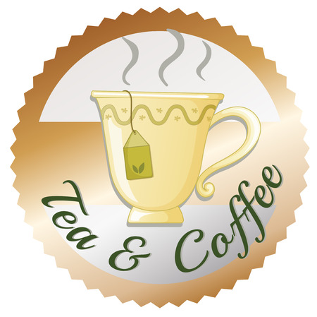 melaware: Illustration of a cup of tea with a tea and coffee label on a white background