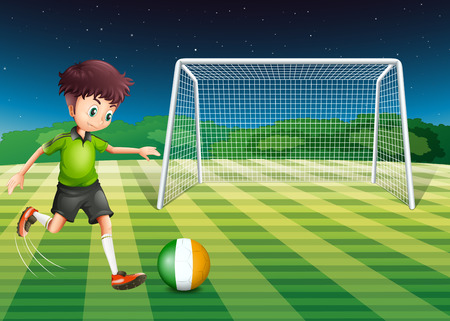 Illustration of a soccer player kicking the ball with the flag of Ireland Vector