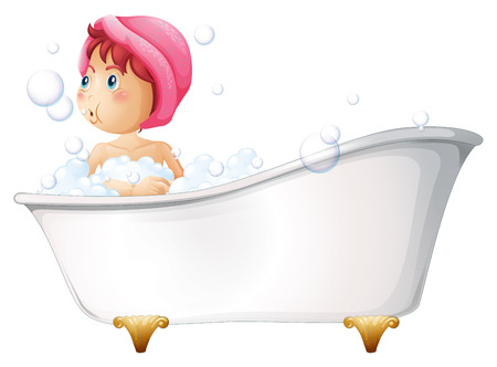Illustration of a young girl taking a bath on a white background Vector