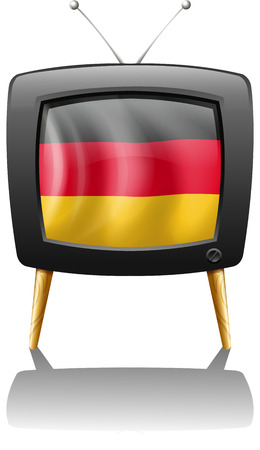 Illustration of a German flag inside a television on a white background Vector