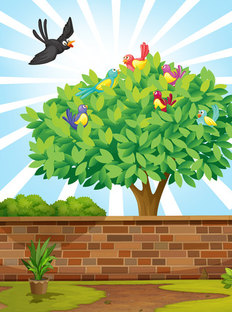 multiple image: Illustration of a tree with a flock of birds
