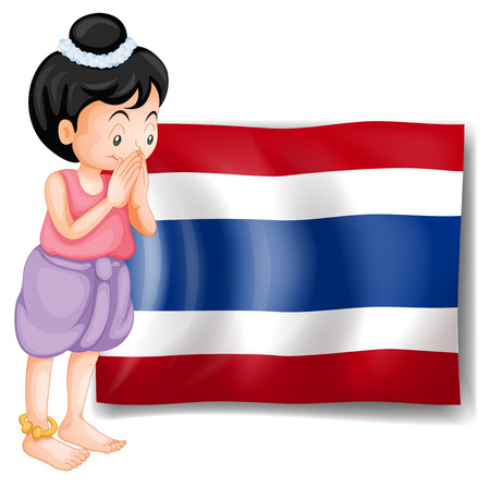 Illustration of a young girl from Thailand standing in front of the flag on a white background Vector