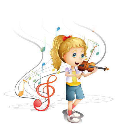 Illustration of a young musician on a white background Vector