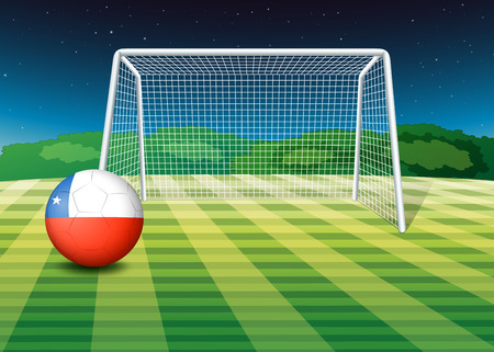Illustration of a soccer ball with the flag of Chile Vector