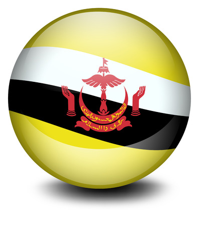 brunei: Illustration of a soccer ball with the flag of Brunei on a white background Illustration