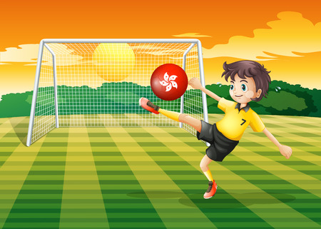 kicking ball: Illustration of a female athlete kicking the ball with the flag of Hong Kong Illustration