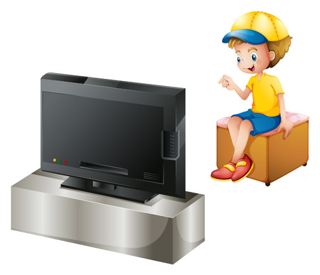 watching movie: Illustration of a boy watching TV on a white background