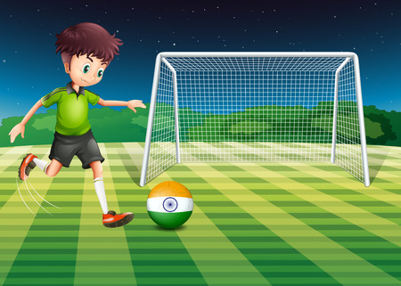 Illustration of an athlete kicking the ball with the flag of India Vector