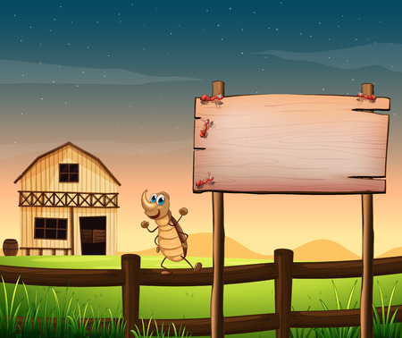 Illustration of an empty wooden signboard near the fence at the farm Vector