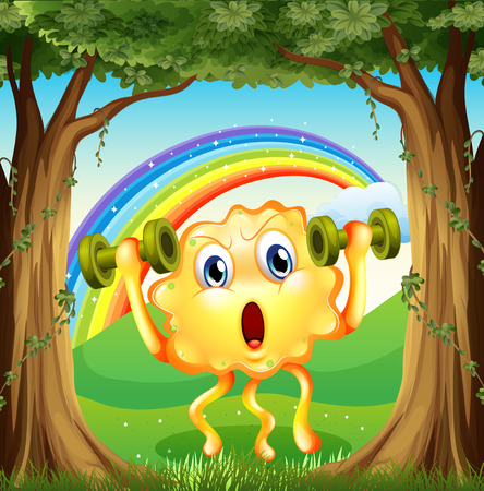 Illustration of a monster exercising at the forest with a rainbow in the sky Vector