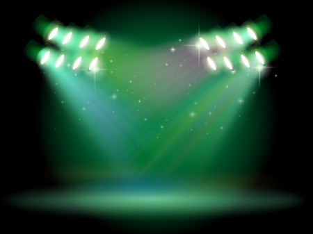 Illustration of a stage with spotlights Illustration