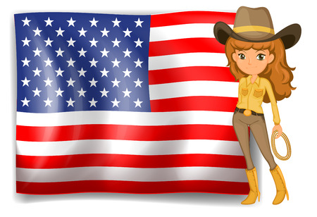 cowgirl: Illustration of a cowgirl and the United States of America flag on a white background