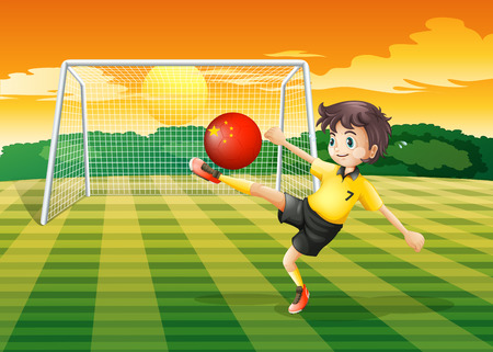 Illustration of a girl using the ball with the flag of China Vector