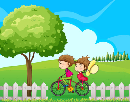 Illustration of a boy biking with his girlfriend Vector