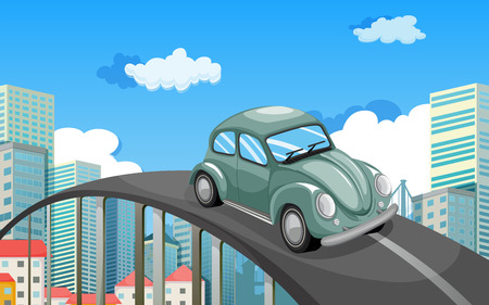 Illustration of a car travelling at the road in the city Vector
