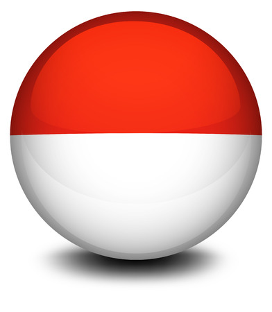 monaco: Illustration of a ball with the flag of Indonesia and Monaco on a white background Illustration