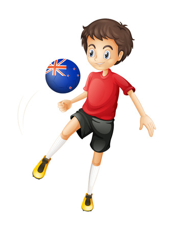 newzealand: Illustration of a football player from New Zealand on a white background