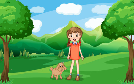 bestfriend: Illustration of a young girl and her puppy at the hill Illustration