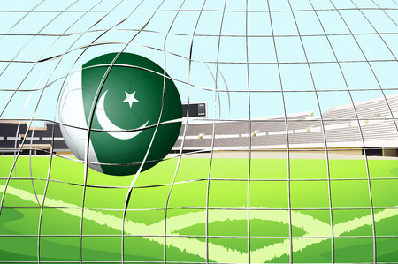 footwork: Illustration of a ball hitting a goal with the Pakistan flag Illustration