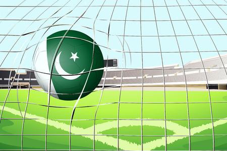 hitting: Illustrazione di una palla che colpisce un gol con la bandiera del Pakistan