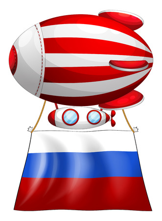 tricoloured: Illustration of a balloon and the flag of Russia on a white background Illustration